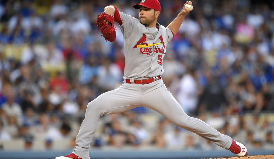 St. Louis Cardinals starting pitcher Jaime Garcia throws to the plate during the second inning of a baseball game against the Los Angeles Dodgers, Saturday, June 6, 2015, in Los Angeles. (AP Photo/Mark J. Terrill)