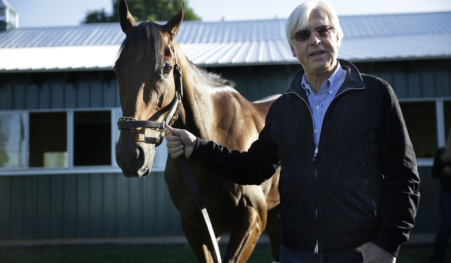 Trainer Bob Baffert shows Triple Crown winner American Pharoah to members of the media at Belmont Park in Elmont, N.Y., Sunday, June 7, 2015. American Pharoah won the Belmont Stakes to become the first horse to win the Triple Crown in 37 years. (AP Photo/Seth Wenig)