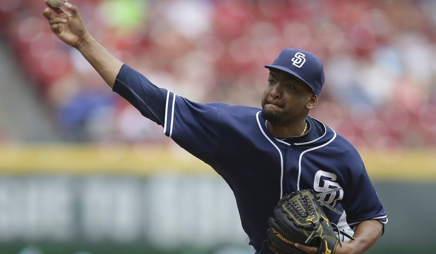 San Diego Padres starting pitcher Odrisamer Despaigne throws in the fourth inning of a baseball game against the Cincinnati Reds, Sunday, June 7, 2015, in Cincinnati. (AP Photo/John Minchillo)