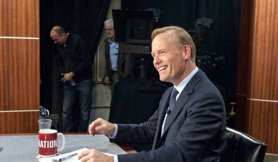 "In this photo provided by CBS News, John Dickerson smiles during his debut as permanent host of ""Face The Nation"" on Sunday, June 7, 2015, in Washington. (Chris Usher/CBS via AP) ** FILE **"