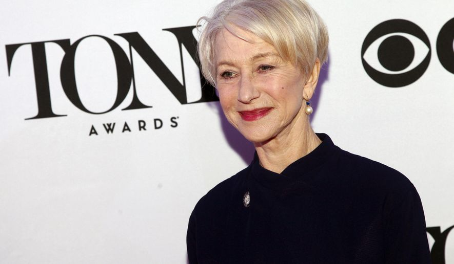 """FILE - In this April 29, 2015 file photo, Helen Mirren attends the 2015 Tony Awards Meet The Nominees Press Junket in New York. Mirren is nominated for an award for her role in """"The Audience."""" The awards will be held on Sunday.  (Photo by Andy Kropa/Invision/AP, File)"""