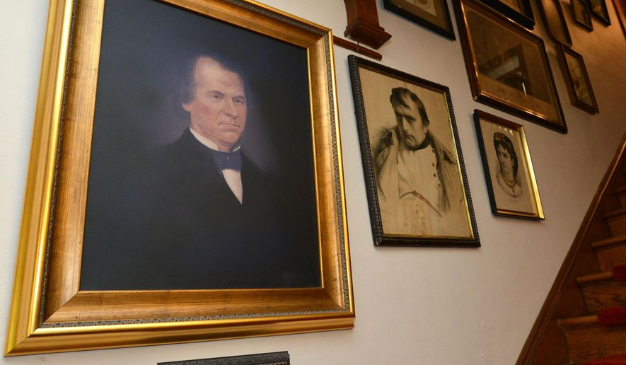 In this photo taken on May 21, 2015, a painting of President Andrew Johnson hangs in the home of Betsy and Harvey Carrier in Bluff City, Tenn. (Earl Neikirk/Bristol Herald Courier via AP)