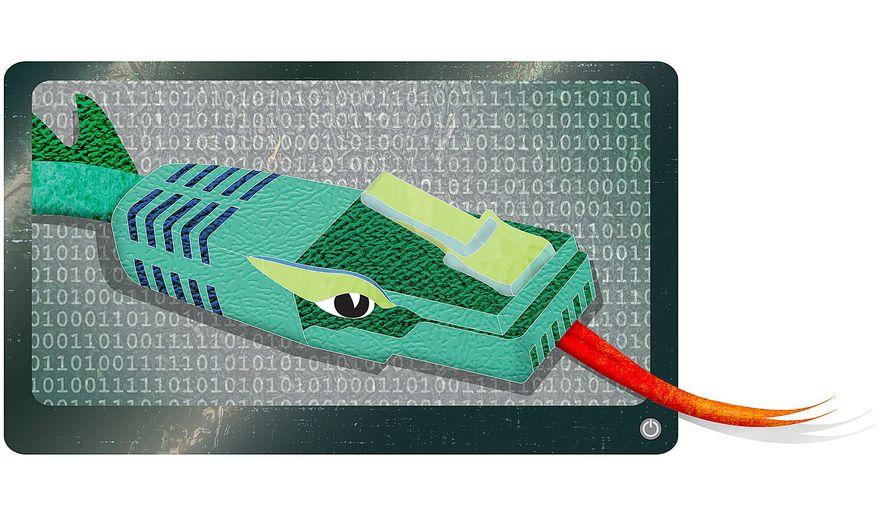 Chinese Cyberwarfare Illustration by Greg Groesch/The Washington Times