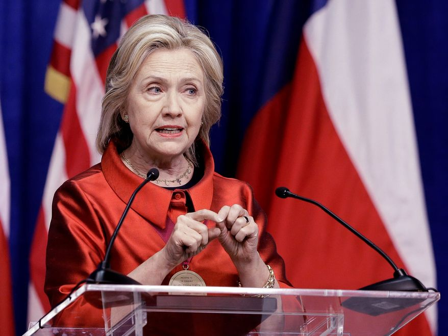 Democratic presidential candidate Hillary Rodham Clinton's policies have moved farther left as Sen. Bernard Sanders has gained on her. (Associated Press)