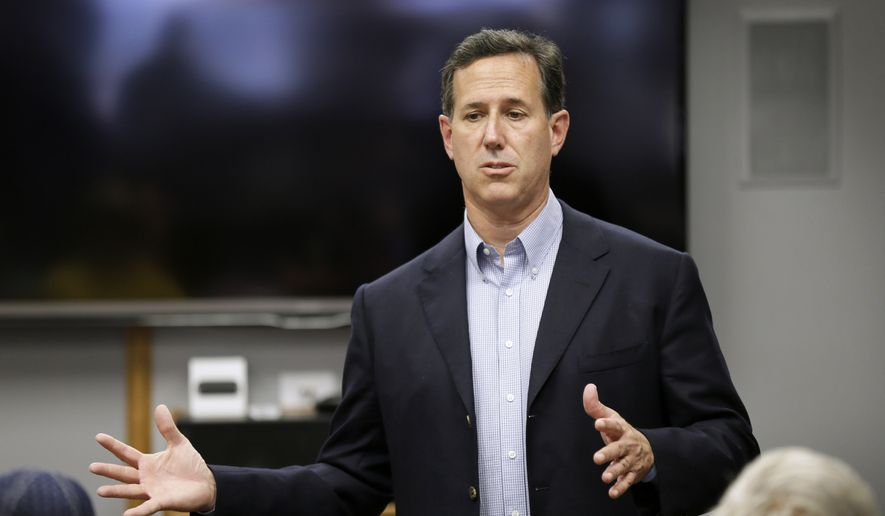 Republican presidential candidate, former Pennsylvania Sen. Rick Santorum speaks during a stop at Panora Telecom Solutions, Monday, June 8, 2015, in Panora, Iowa. (AP Photo/Charlie Neibergall) ** FILE **