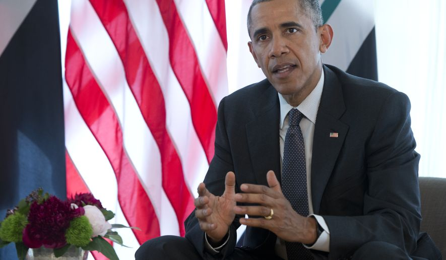 US President Barack Obama speaks to media during a bilateral meeting with Iraqi Prime Minister Haider al-Abadi during the G-7 summit in Schloss Elmau hotel near Garmisch-Partenkirchen, southern Germany, Monday, June 8, 2015. (AP Photo/Carolyn Kaster)