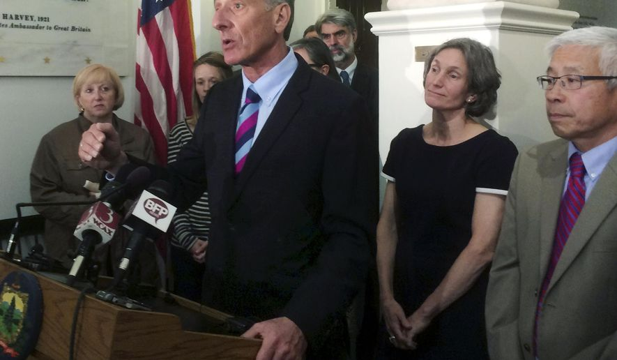 Vermont Gov. Peter Shumlin announces that he will not run for a fourth, two-year term, Monday, June 8, 2015, in Montpelier, Vt. The 59-year-old governor, who was first elected in 2010, said he never had any desire to be a full-time politician, and will return to the business world when his term expires. (AP Photo/Wilson Ring)