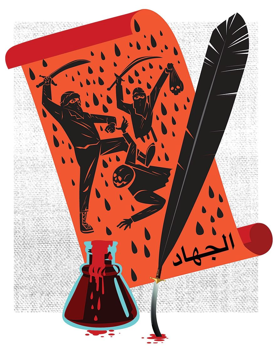 Illustration on violent Islamist poetry by Linas Garsys/The Washington Times