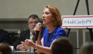 Republican presidential hopeful Carly Fiorina speaks during a reception and panel discussion in Spartanburg, S.C. on Wednesday, May 27, 2015. (John Byrum/Spartanburg Herald-Journal via AP) ** FILE **