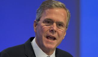 Former U.S. Gov. Jeb Bush speaks at the Economic Council in Berlin, Germany, Tuesday, June 9, 2015. The Economic Council is a German business association representing the interests of more than 11,000 small and medium sized firms, as well as larger multinational companies. (AP Photo/Michael Sohn)