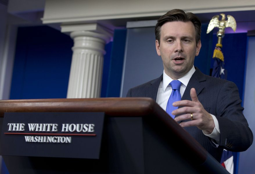White House press secretary Josh Earnest speaks during the daily news briefing at the White House in Washington, Tuesday, June 9, 2015. Earnest discussed the training of Iraqi security forces, and President Barack Obama's interactions with Iraqi Prime Minister Haider al-Abadi at the G-7 Summit and the other topics. (AP Photo/Carolyn Kaster)