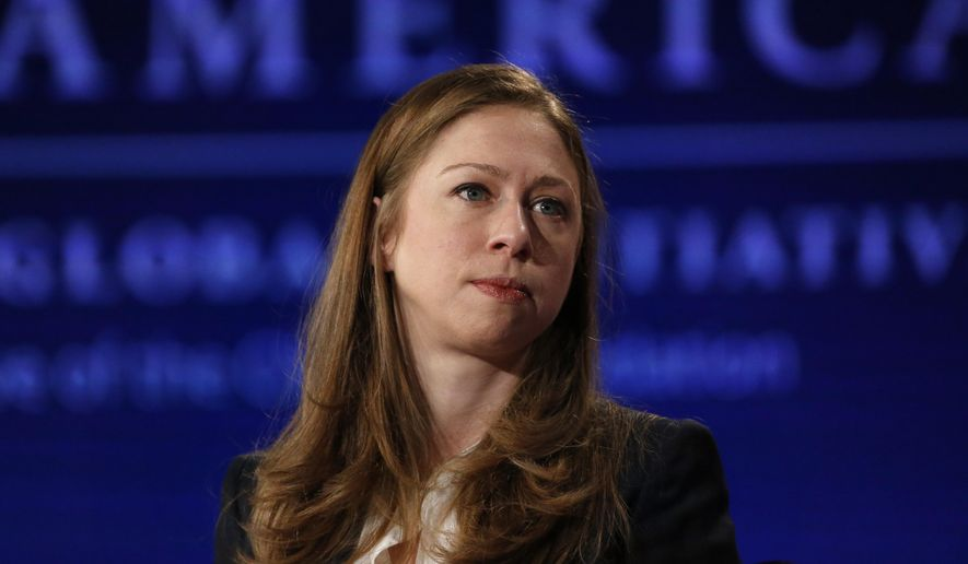 Chelsea Clinton, vice chair of the Clinton Foundation, moderates a forum during a session of the annual gathering of the Clinton Global Initiative America, at the Sheraton Downtown, in Denver, Tuesday, June 9, 2015. (AP Photo/Brennan Linsley) ** FILE **