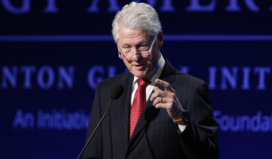 Former President Bill Clinton speaks to attendees during a session of the annual gathering of the Clinton Global Initiative America, at the Sheraton Downtown, in Denver, Tuesday, June 9, 2015. CGI America's stated strategy is to bring together leaders from the business and philanthropic communities, along with the non-governmental and government sectors, seeking solutions for economic growth, long-term competitiveness, and social mobility in the United States. (AP Photo/Brennan Linsley)