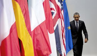 US President Barack Obama arrives to speak at a news conference at the G-7 summit in Schloss Elmau hotel near Garmisch-Partenkirchen, southern Germany, Monday, June 8, 2015. (AP Photo/Carolyn Kaster)