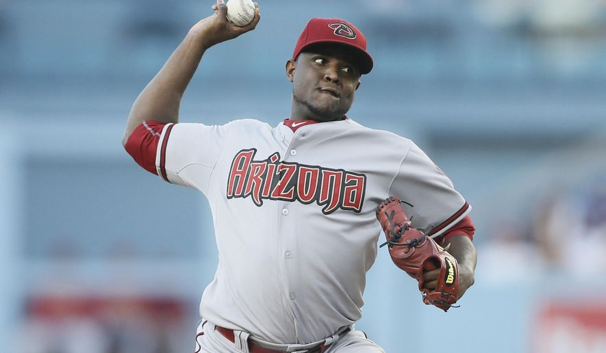 Arizona Diamondbacks starting pitcher Rubby De La Rosa delivers against the Los Angeles Dodgers during the first inning of a baseball game Monday, June 8, 2015, in Los Angeles. (AP Photo/Danny Moloshok)