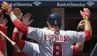 Teammates greet Washington Nationals Danny Espinosa at the dugout steps after he hit a  solo home run in the fifth inning of a baseball game against the New York Yankees at Yankee Stadium in New York, Wednesday, June 10, 2015.  (AP Photo/Kathy Willens)