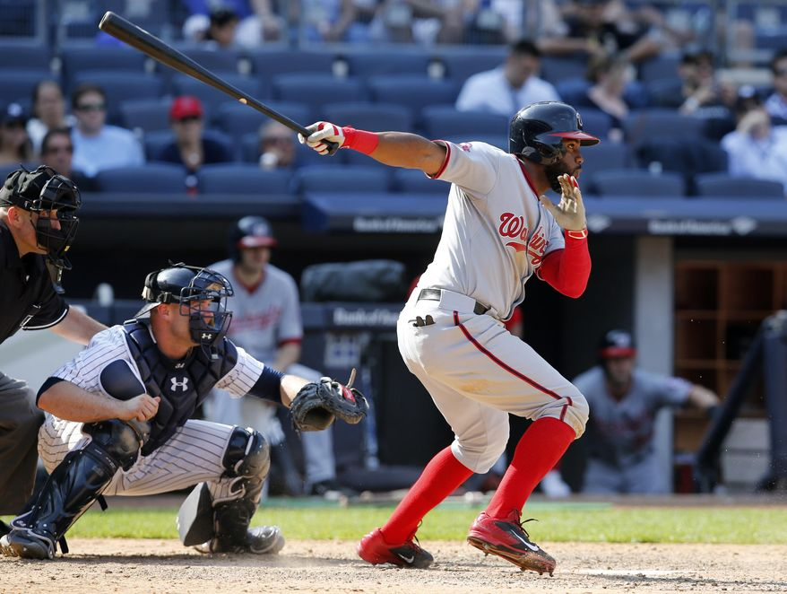 Washington Nationals' Denard Span hits an RBI single in the 11th inning of a baseball game against the New York Yankees, Wednesday, June 10, 2015, at Yankee Stadium in New York.  (AP Photo/Kathy Willens) **FILE**