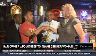 The Tempe Tavern held a press conference Monday to publicly apologize to Briana Sandy, a 55-year-old transgender woman, who was recently kicked out because a bartender mistook her for a prostitute. (12 News via The Arizona Republic)
