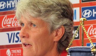 Sweden coach Pia Sundhage speaks during a news conference at the FIFA Women's World Cup soccer tournament, Thursday, June 11, 2015, in Winnipeg, Manitoba. Sundhage will coach against her old team, the United States, when they play on Friday in a first round match in Canada. (AP Photo/Anne M. Peterson) (Associated Press)