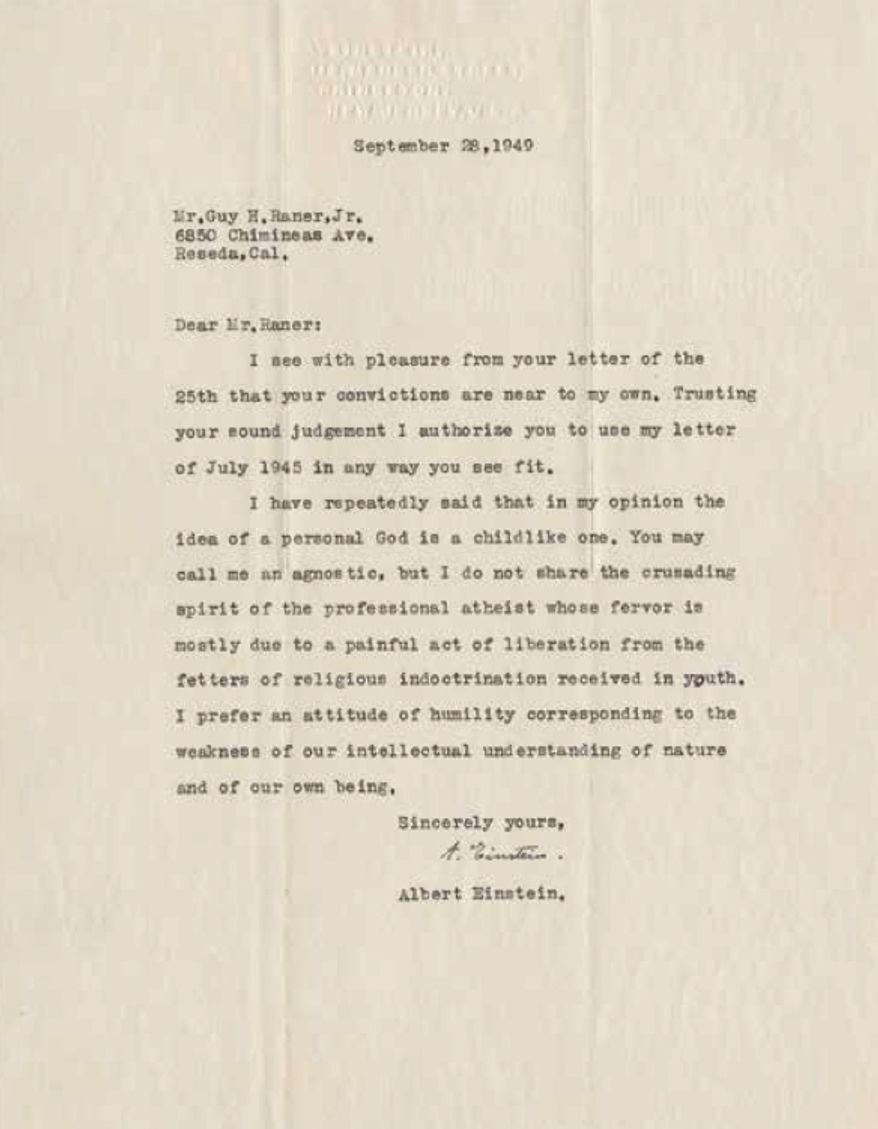 This undated image provided by Profiles in History shows a letter written on September 28, 1949, by legendary physicist Albert Einstein on his idea of God. (Profiles In History via AP) ** FILE **