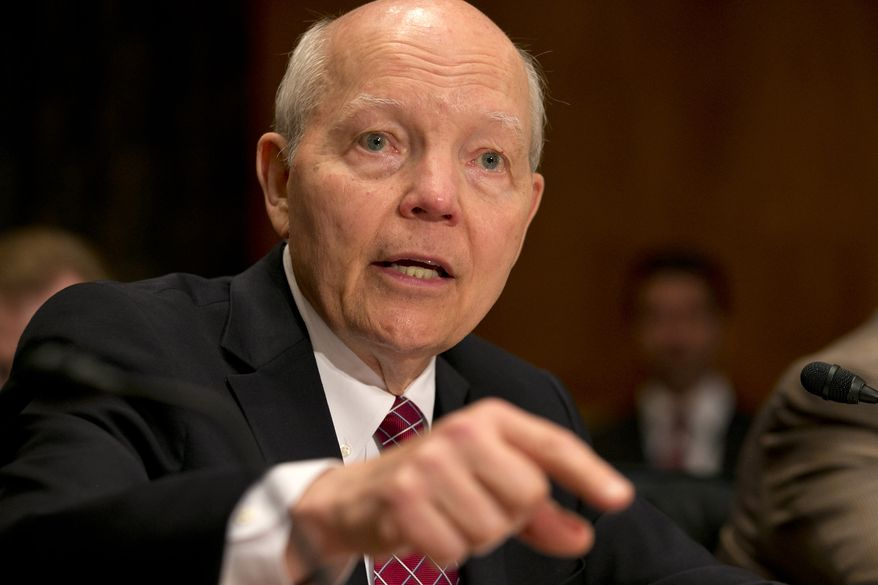 FILE - In this June 2, 2015, file photo, Internal Revenue Service (IRS) Commissioner John Koskinen testifies on Capitol Hill in Washington, before the Senate Homeland Security and Governmental Affairs committee hearing examining the IRS data breach.  The IRS is joining with state and private industry to combat identity theft by sharing more data about how tax returns are filed and taking other steps, Koskinen announced Thursday, June 11. (AP Photo/Jacquelyn Martin, File)