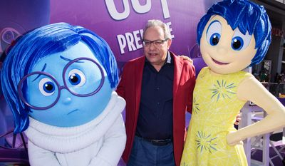 """Lewis Black was joined by some characters of his Pixar film at the Los Angeles premiere of  """"Inside Out"""" in Los Angeles. (Associated Press)"""