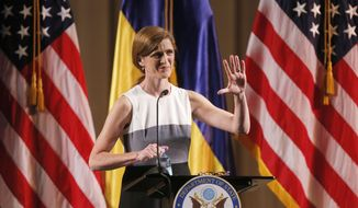 Samantha Power, the U.S. ambassador to the United Nations, speak to an audience of civil society activists and politicians in Kiev, Ukraine, on Thursday, June 11, 2015.  Power is visiting Ukraine as the country battles to overhaul the economy, combat corruption and wages a war against Russia-backed separatist rebels in the east.  (AP Photo/Sergei Chuzavkov)