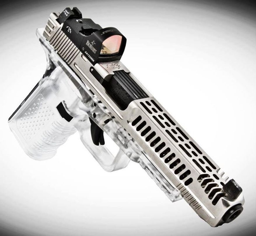 """The """"Full of Weapons"""" gun community envisions this customized Lone Wolf pistol as a Glock of the future, complete with transparent polymers."""