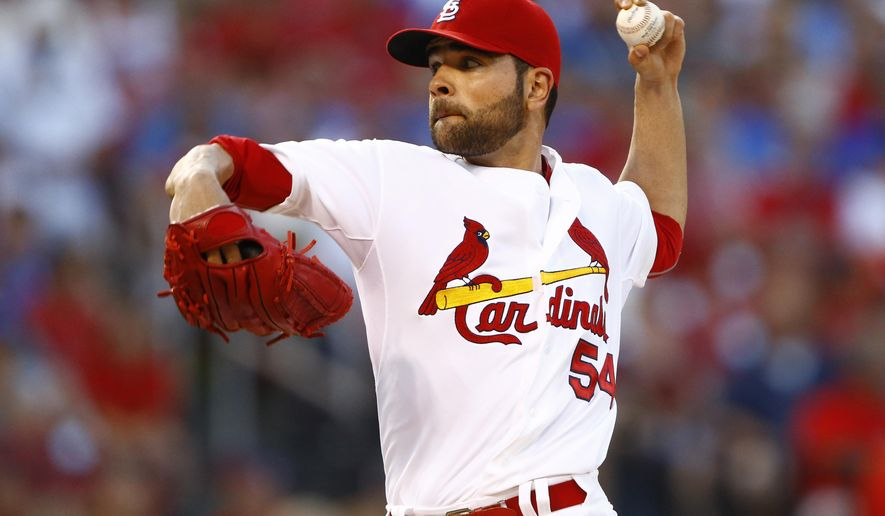St. Louis Cardinals starting pitcher Jaime Garcia throws during the second inning of a baseball game against the Kansas City Royals, Friday, June 12, 2015, in St. Louis. (AP Photo/Billy Hurst)