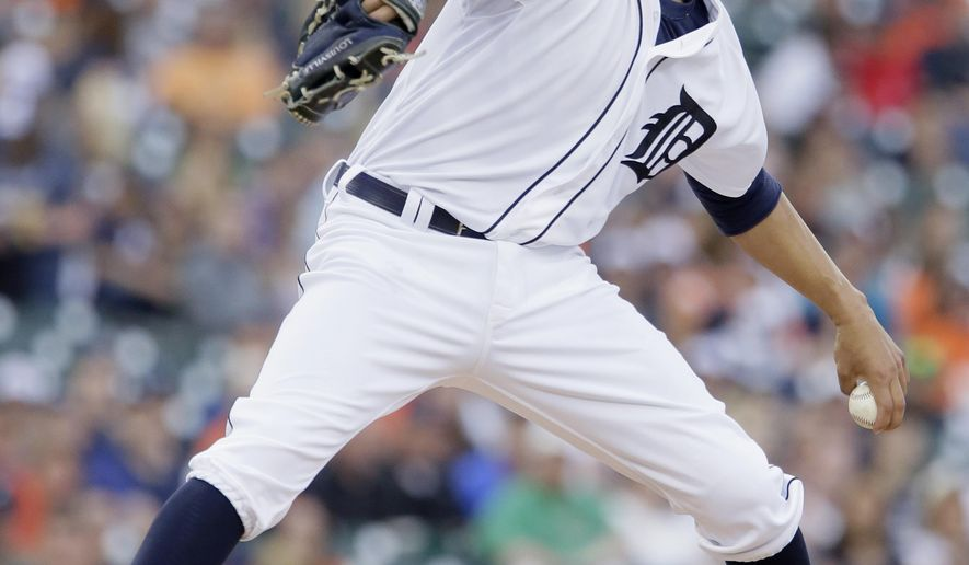 Detroit Tigers pitcher David Price delivers against the Cleveland Indians during the first inning of a baseball game Friday, June 12, 2015, in Detroit. (AP Photo/Duane Burleson)