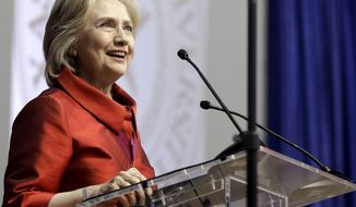 Democratic presidential candidate Hillary Rodham Clinton speaks in Houston on June 4, 2015. (Associated Press) **FILE**