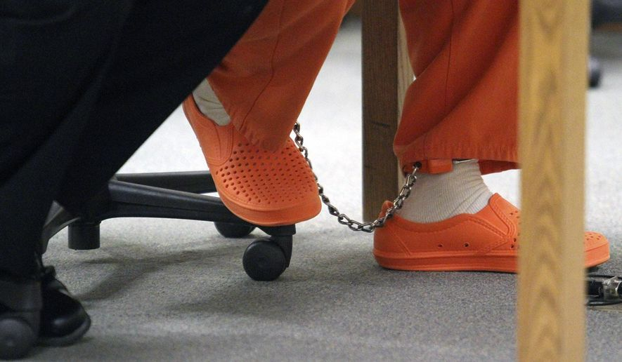 Martin Zale's feet are shackled during his sentencing, Friday, June 12, 2015 in Howell, Mich. Zale was sentenced Friday to 25 to 50 years in prison for the fatal shooting of another motorist during a road rage incident. (Alan Ward/Livingston County Daily Press & Argus via AP)  NO SALES