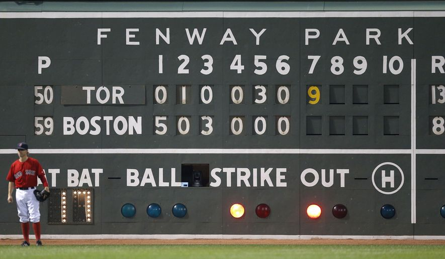 Boston Red Sox's Brock Holt stands in front of the scoreboard during the seventh inning of a baseball game against the Toronto Blue Jays in Boston, Friday, June 12, 2015. (AP Photo/Michael Dwyer)