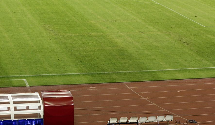 The pitch appearing to show the pattern of a swastika, following the Euro 2016 Group H qualifying soccer match between Croatia and Italy, in Split, Croatia, Friday, June 12, 2015. Croatia could face punishment by UEFA after a swastika pattern could be seen on the pitch for its European Championship qualifying match against Italy. (AP Photo/Darko Bandic)