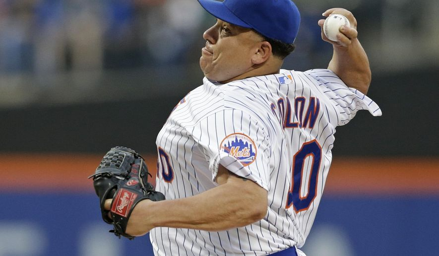 New York Mets' Bartolo Colon delivers a pitch during the first inning of a baseball game against the Atlanta Braves, Friday, June 12, 2015, in New York. (AP Photo/Frank Franklin II)