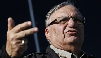 Maricopa County Sheriff Joe Arpaio speaks with the media in Phoenix on Jan. 9, 2013. (Associated Press) **FILE**