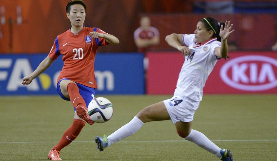 South Korea's Hyeri Kim (20) strikes the ball as Costa Rica's Maria Barrantes closes in during the first half of a FIFA Women's World Cup soccer match Saturday, June 13, 2015, in Montreal, Canada. (Paul Chiasson/The Canadian Press via AP)