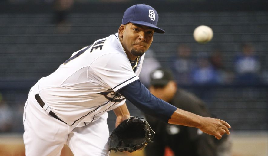 San Diego Padres starting pitcher Odrisamer Despaigne works against the Los Angeles Dodgers in the first inning of a baseball game Friday, June 12, 2015, in San Diego.  (AP Photo/Lenny Ignelzi)