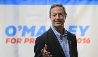 Democratic presidential hopeful and former Maryland Gov. Martin O'Malley speaks to local residents at a house party in New Castle, N.H., on June 13, 2015. (Associated Press) **FILE**
