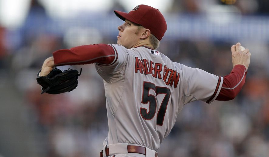 Arizona Diamondbacks' Chase Anderson works against the San Francisco Giants in the first inning of a baseball game Friday, June 12, 2015, in San Francisco. (AP Photo/Ben Margot)