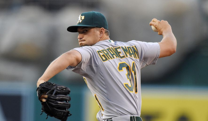 Oakland Athletics starting pitcher Kendall Graveman throws to the plate during the first inning of a baseball game against the Los Angeles Angels, Saturday, June 13, 2015, in Anaheim, Calif. (AP Photo/Mark J. Terrill)