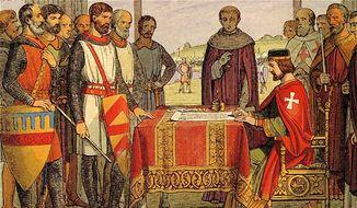 An artistic interpretation of King John's signing the Magna Carta before English barons at Runnymede in 1215