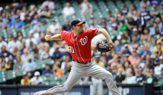 Nationals starting pitcher Max Scherzer struck out a Nationals-record 16 and threw a one-hitter in a 4-0 win at Milwaukee on Sunday. Scherzer lost the perfect game on a broken-bat, bloop single in the seventh inning by Carlos Gomez that fell just inches beyond the outstretched glove of second baseman Anthony Rendon. (Associaied Press)
