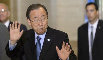 UN Secretary General Ban Ki-moon arrives on the eve of the Geneva Consultations on Yemen at the European headquarters of the United Nations, UN, in Geneva, Switzerland, Sunday, June 14, 2015.  (Laurent Gillieron/Keystone via AP)