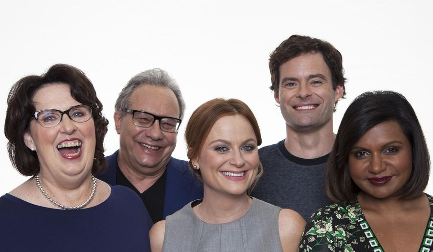 """In this Sunday, June 7, 2015 photo, actors, Phyllis Smith, from left, Lewis Black, Amy Poehler, Bill Hader and Mindy Kaling pose for a portrait in promotion the new Disney-Pixar animated feature film, """"Inside Out"""" in Beverly Hills, Calif.  The movie releases in U.S. theaters on June 19, 2015. (Photo by Rebecca Cabage/Invision/AP)"""