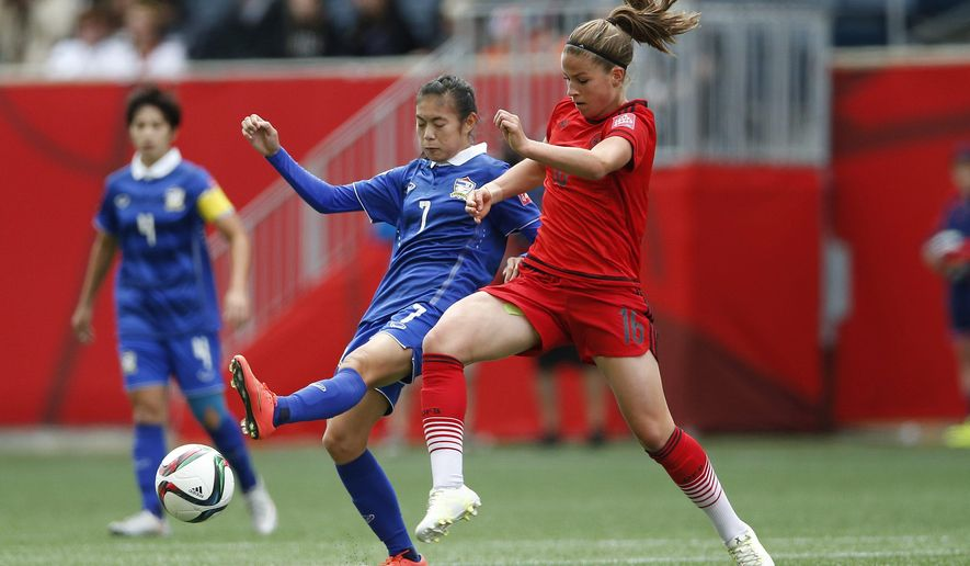 Germany's Melanie Leupolz, right, and Thailand's Silawan Intamee (7) vie for the ball during the first half of a FIFA Women's World Cup soccer game in Winnipeg, Manitoba, Canada, Monday, June 15, 2015. (John Woods/The Canadian Press via AP) MANDATORY CREDIT