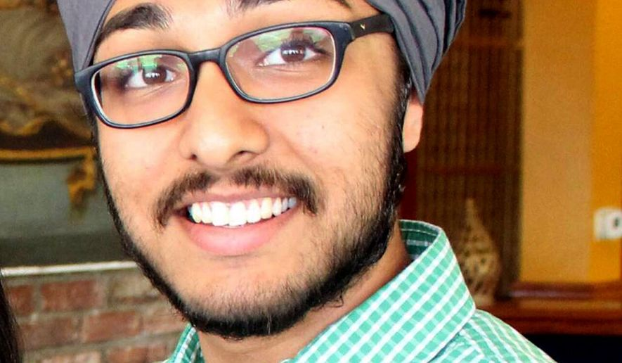 This 2014 photo provided by the American Civil Liberties Union shows Hofstra University student Iknoor Singh, who sued the Army last year, claiming his goal of someday working in military intelligence was being stymied by the Army's policy. A federal judge has now ordered the Sikh college student from New York be permitted to enroll in the U.S. Army's Reserve Officer Training Corps without shaving his beard, cutting his hair, or removing his turban. (American Civil Liberties Union via AP)