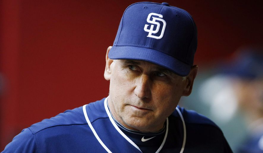 FILE - In this May 8, 2015, file photo, San Diego Padres' Bud Black paces in the dugout prior to a baseball game against the Arizona Diamondbacks in Phoenix. The Padres fired Black on Monday, June 15, 2015, after hovering around .500 with a roster that was overhauled in the offseason.   (AP Photo/Ross D. Franklin, File)