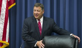 House Transportation and Infrastructure Committee Chairman Bill Shuster, Pennsylvania Republican, takes his seat on Capitol Hill in Washington on June 2, 2015. (Associated Press) **FILE**