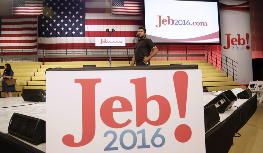 A technician does a sound check at Miami Dade College where former Florida Gov. Jeb Bush is expected to announce his bid for the Republican presidential nomination, Monday, June 15, 2015, in Miami. (AP Photo/Lynne Sladky)